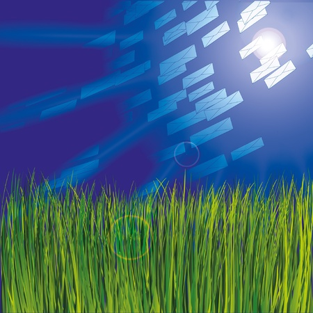 Grass and sunny sky as background with envelops Stock Vector - 9935049