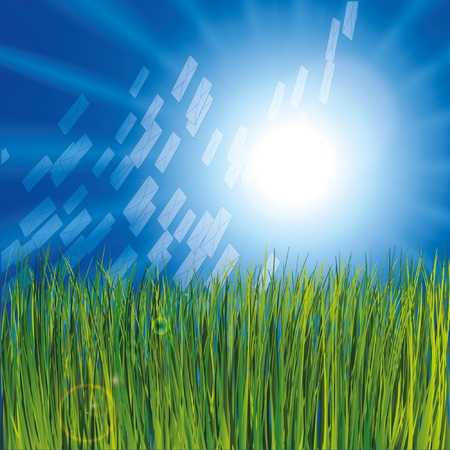 Grass and sunny sky as background with envelops