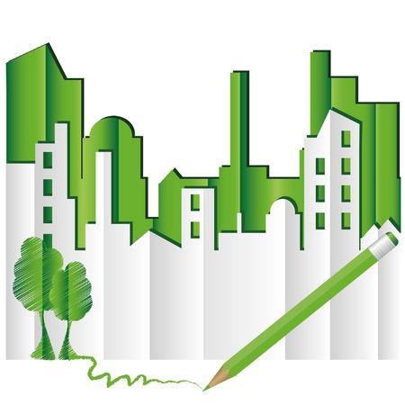 Abstract green city. Eco world. Illustration