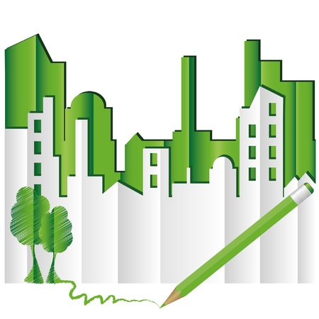 Abstract green city. Eco world. Vector