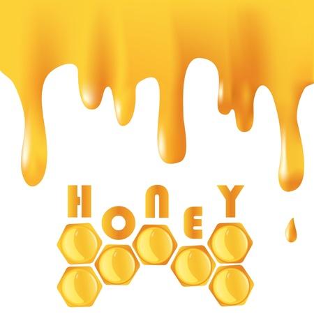 miel et abeilles: Arri�re-plan avec le miel qui coule et en nid d'abeille