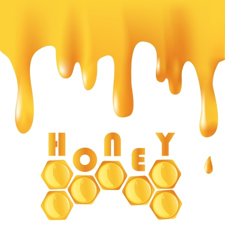 Background with flowing honey and honeycomb Illustration