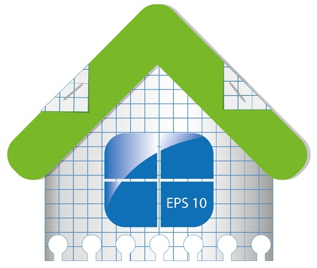 House from checked paper. Vector
