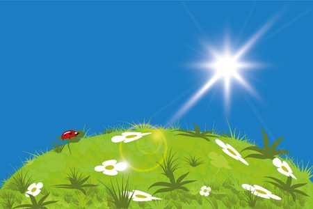 Green meadow and cloudy blue sky illustration  Vector