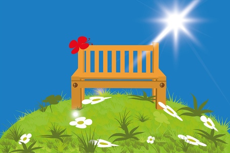 Bench on the lawn illustration.