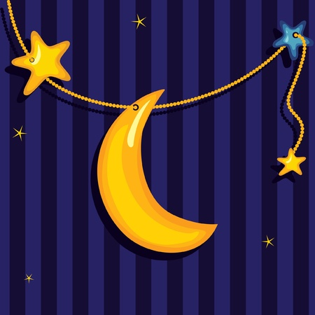 lullaby: Sweet dreams  background cute moon and stars.