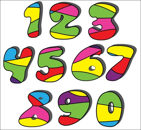 Colorful cartoon numbers set  Vector