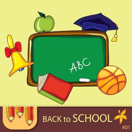 Colorful school background with cute school design elements and  space for your text. Stock Vector - 9935430