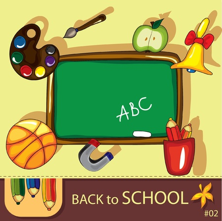 Colorful school background with cute school design elements and  space for your text. Stock Vector - 9935433