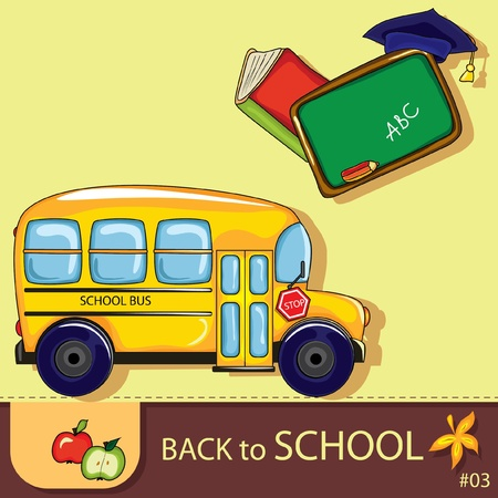 Colorful school background with cute school design elements and  space for your text. Vector