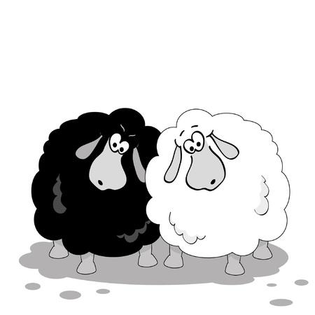 反対: 羊を漫画します。黒と白のイラスト。