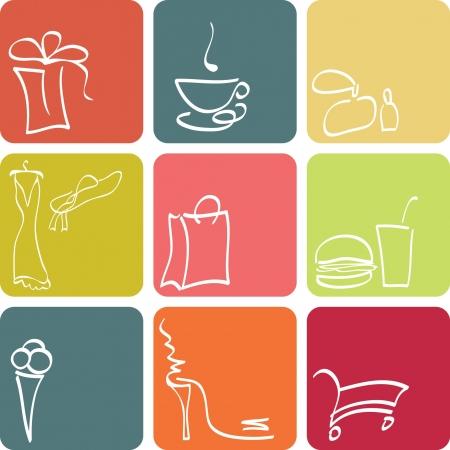 fashion shopping: Conjunto de iconos de tienda  Vectores