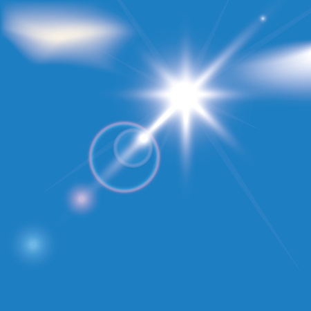 sun on blue sky with lenses flare Stock Vector - 9935436