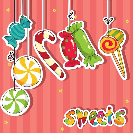 Snoep op strings. Stock Illustratie