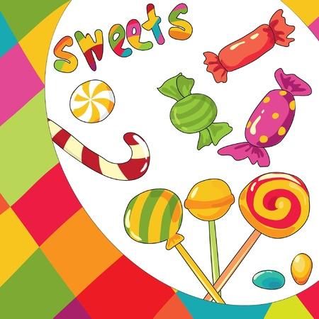 cosa: Ilustraci�n de dulces. Fondo multicolor  Vectores