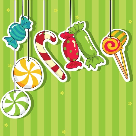 Sweets on strings. Stock Vector - 9935441