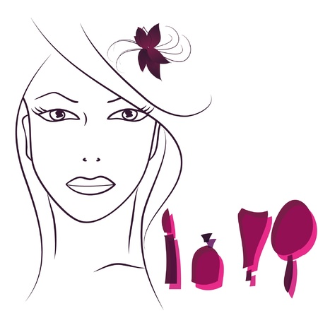 Beauty face woman with cosmetics. Vector