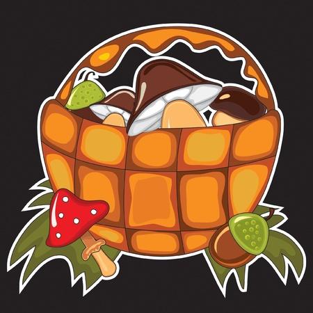 yield: Autumn basket with seasonal yield - mushroom, acorn. Isolated on the black. Illustration