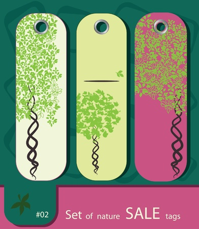set of price tags with tree. Retro style. Vector