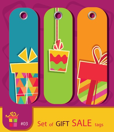 set of price tags with gift box. Retro style. Vector