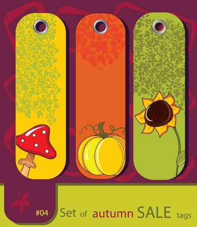 Set of retro sale nature autumn tags with sunflower, pumpkin, fly agaric Vector