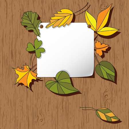 Autumn background with leaves. Empty blank on the wooden background with the space for your text. Thanksgiving card Stock Vector - 9935480