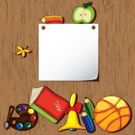 Lege witte papier op de houten achtergrond met schattige scholen design elementen en ruimte voor uw tekst.