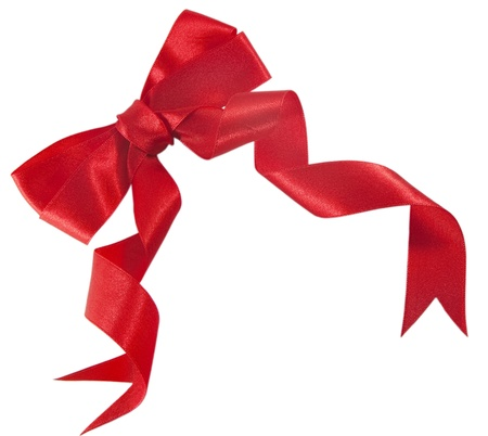 red ribbon bow: Red gift bow. Beautiful satin ribbon isolated on the white background Stock Photo