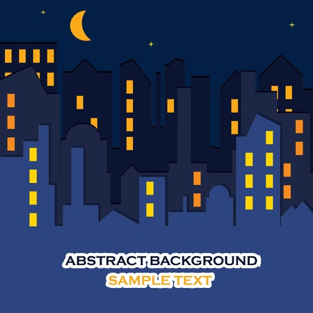 CITYSCAPE at the night time.  Vector
