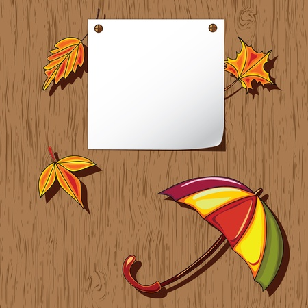 umbrella month: Autumn background. Empty blank on the wooden background with the space for your text. Thanksgiving card