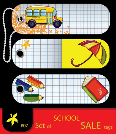 set of price tags. School elements.  Illustration