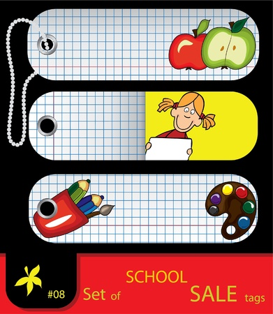 Vector set of price tags. School elements. Set #8 Vector