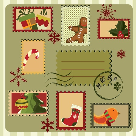 Christmas card with stamps and many elements . Retro style. Vector
