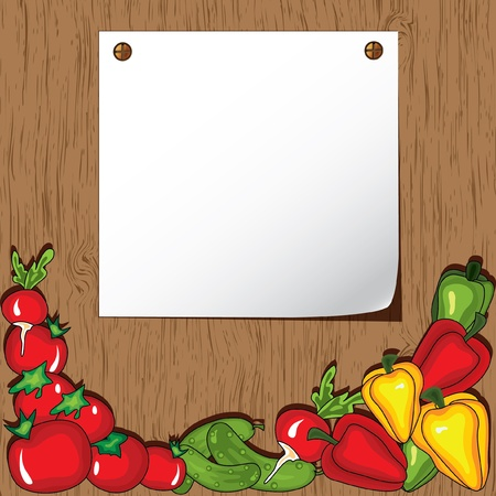 Vegetables on the wooden background.  Place for your text Stock Vector - 10049615
