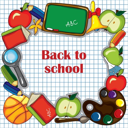 Checked  paper as background with cute school design elements and  space for your text. Vector
