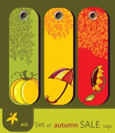 thanksgiving day symbol: Set di vendita retrò natura autunno tag con girasole, ombrello, zucca Vettoriali