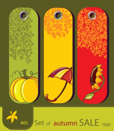 Set of retro sale nature autumn tags with sunflower, umbrella, pumpkin Vector