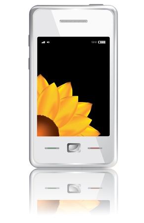 Vector touchscreen smartphone isolated on the white background Vector