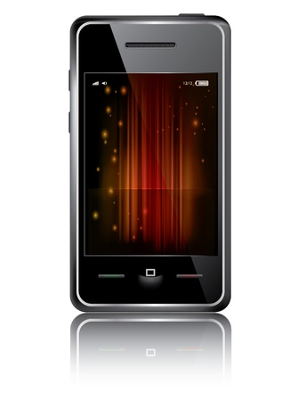 Touchscreen smartphone with abstract background isolated on the white background Vector