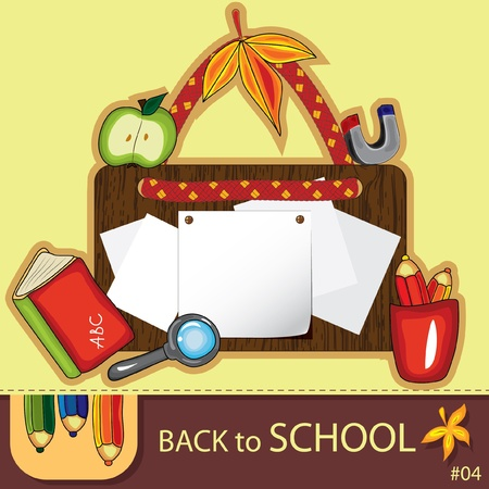 Colorful school background with cute school design elements and  space for your text. Series. #4. Look more in my gallery Stock Vector - 10227211