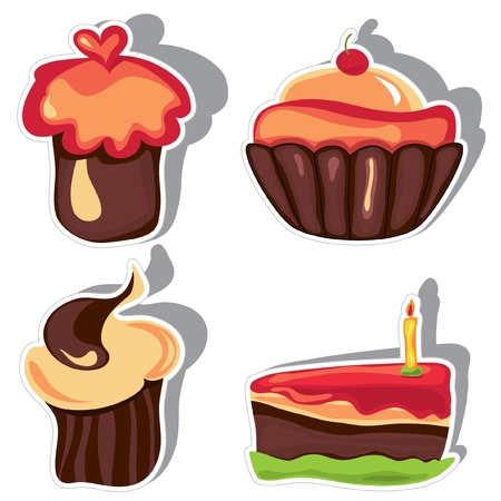 Set of chocolate cupcakes Vector