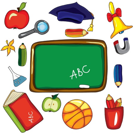 Set of design school elements on the white background Vector
