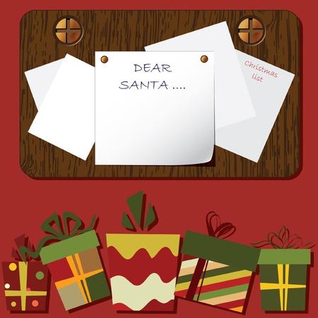 weihnachten zweig: Christmas Hintergrund. Leere Leerzeichen auf dem h�lzernen Hintergrund mit dem Raum f�r Ihren Text.  Illustration