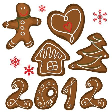 Cookies de Navidad aisladas en el blanco. Conjunto de vectores
