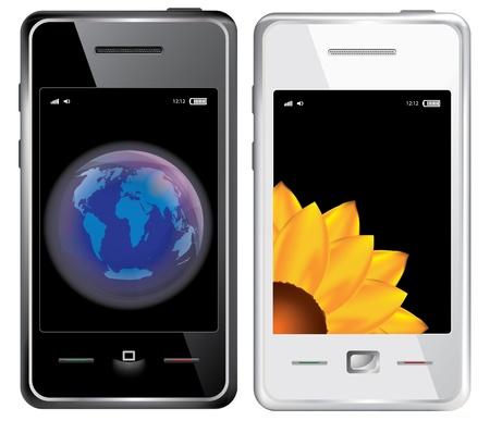Set van touchscreen smartphone die op de witte achtergrond Stock Illustratie