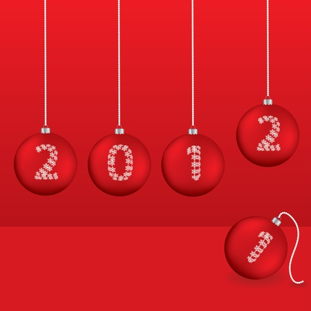 Christmas greeting card with red balls  Illustration
