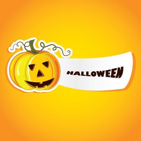 Vector halloween illustration with pumpkin.  Vector