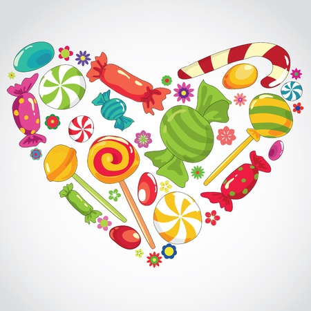 Vector illustartion of abstract sweets  candy heart  Illustration
