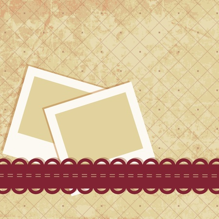 wedding photo album: Scrap retro background with blank space for your photos or text. Vector illustration