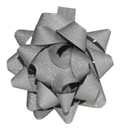 Grey shiny gift bow isolated on the white background Stock Photo - 10476620